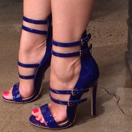 Ericdress Blue Buckles Decorated Stiletto Sandals