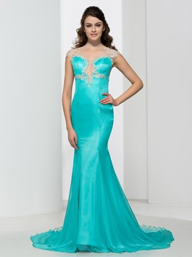 Ericdress Sheer Neck Appliques Beading Mermaid Evening Dress