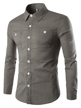 Ericdress Plain Casual Long Sleeve Men's Shirt