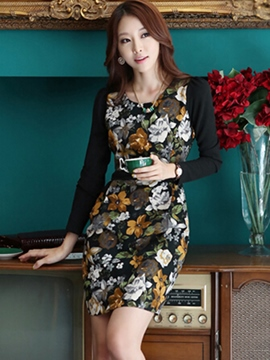 Ericdress Flower Print Patchwork Bodycon Dress