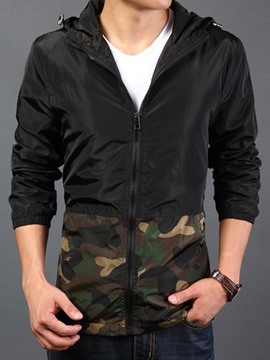 Ericdress Leopard Patched Casual Men's Jacket
