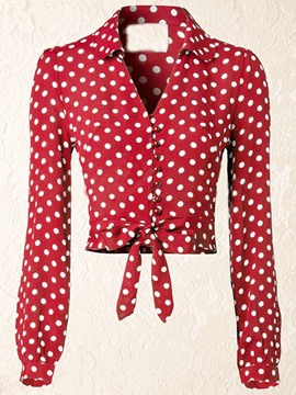 Ericdress Polka Dot V-Neck Tie Front Slim Blouse