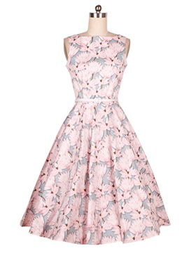 Ericdress Floral Print Belt Vintage Casual Dress