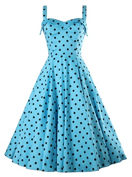 Ericdress Spaghetti Strap Polka Dots Vintage Casual Dress