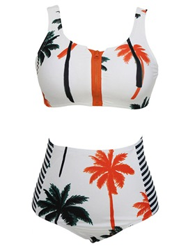 Ericdress Trees Printed Zip Design Casual Bikini
