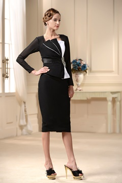 Short Long-Sleeves Semi-Formal Knee Length Mother of the Bride Dress