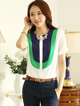 Ericdress Color Block Slim Short Sleeve Blouse