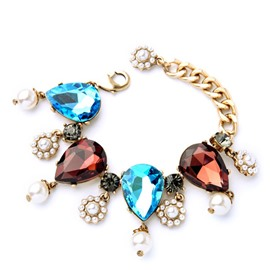 Ericdress Colorful Water Drop Diamante Bracelet