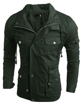 Ericdress Plain Multi-Pocket Design Casual Men's Jacket