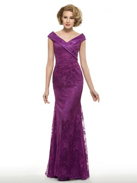 Ericdress High Quality V Neck Mermaid Lace Mother Of The Bride Dress