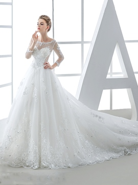 Ericdress Beautiful Illusion Neckline A Line Wedding Dress With Sleeves