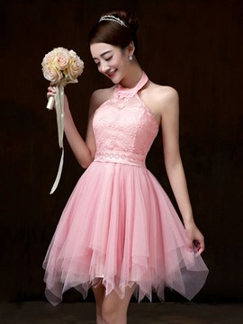 Ericdress Beautiful Halter Lace Bridesmaid Dress