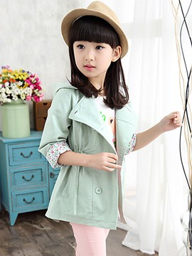 Ericdress Plain Girls Trench Coat