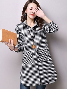 Ericdress Plaid Slim Pocket Blouse