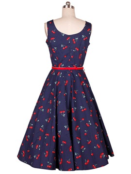 Ericdress Print Belt Vintage Casual Dress