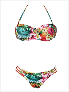 Ericdress Floral Printed Hollow Bikini