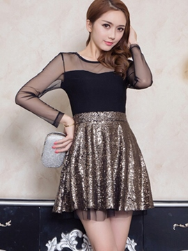Ericdress Mesh Patchwork Sequins Casual Dress