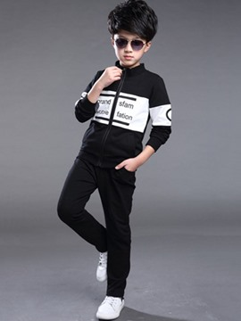 Ericdress Zipper Boys Sport Outfit