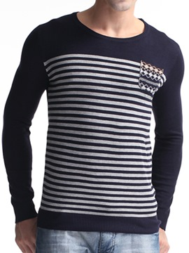 Ericdress Stripe Slim Pullover Men's Sweater