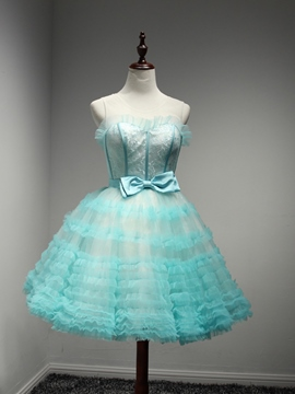 Ericdress A-Line Sweetheart Bow lace Tiered Homecoming Dress