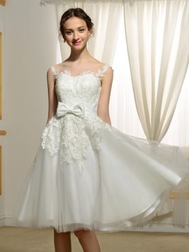 Ericdress Charming Appliques Knee Length Reception Wedding Dress