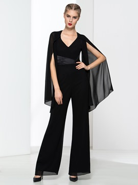 Ericdress Modern V-Neck Backless Black Jumpsuits