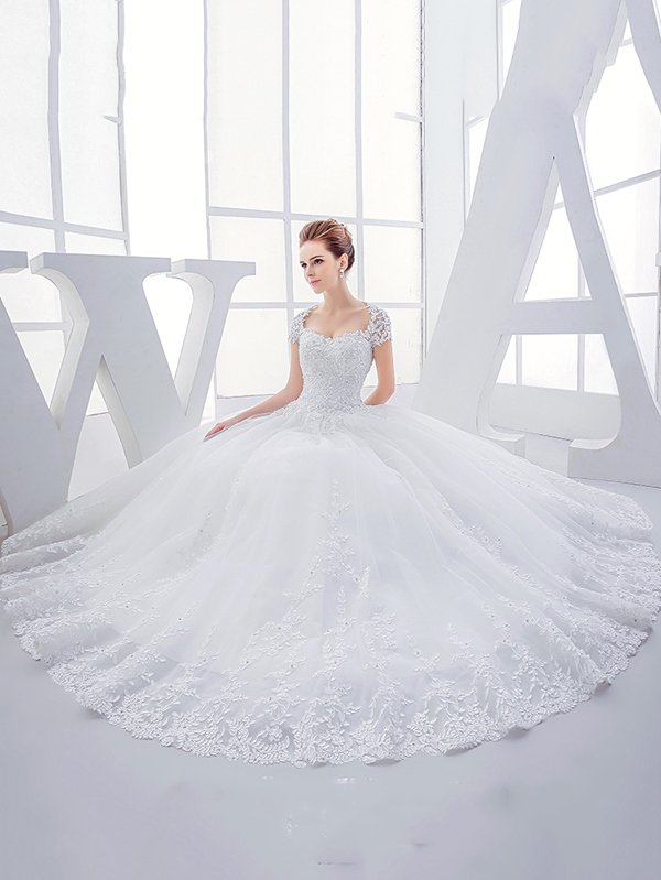 Ericdress High Quality Appliques Beading Sweetheart Ball Gown Wedding Dress