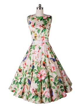 Ericdress Print Belt Expansion Vintage Casual Dress