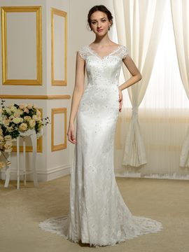 Ericdress Beautiful V Neck Lace Wedding Dress