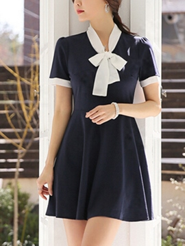 Ericdress Patchwork Bowknot Short Sleeve Casual Dress
