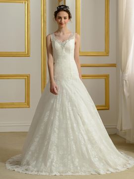 Ericdress Charming V Neck Beading Lace Wedding Dress