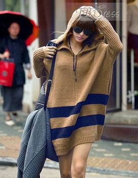 Striped Long Sleeve Loose Hooded Sweater Dress