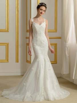 Ericdress Charming Straps V Neck Backless Mermaid Wedding Dress
