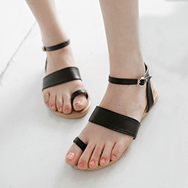 Ericdress Simple Pu Flat Sandals