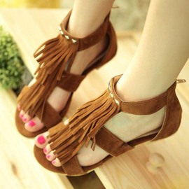 Ericdress Sweet Suede Flat Sandals with Tassels