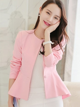 Ericdress Graceful Ruffle Hem One Button Round Neck Blazer
