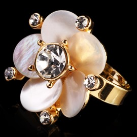 Ericdress Romantic Diamond Flower Ring