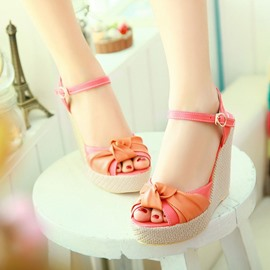 Ericdress Bright Bowtie Wedge Sandals