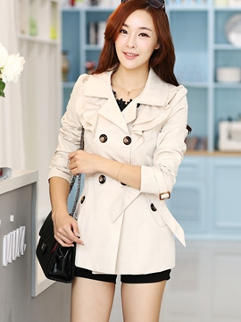 Ericdress Elegant Ruffle Collar Coat