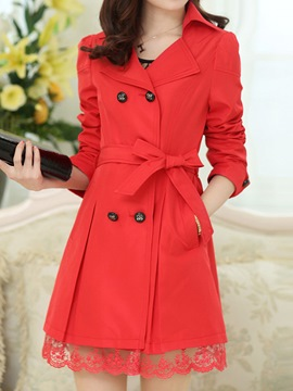 Ericdress Classical Double-Breasted Lace Patchwork Trench Coat