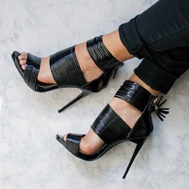 Ericdress Black Wide Strap Stiletto Sandals