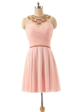 Ericdress Scoop Neck Beading Pleats Short Prom Dress