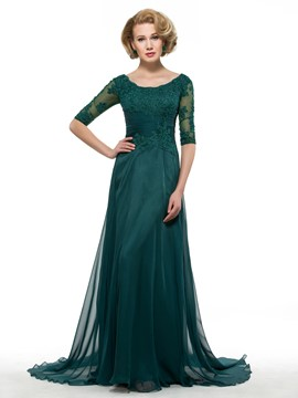 Ericdress Elegant Appliques Scoop Half Sleeves Mother Of The Bride Dress