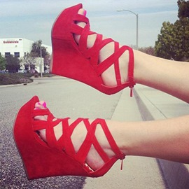 Ericdress Red Cut Out Peep Toe Wedge Sandals