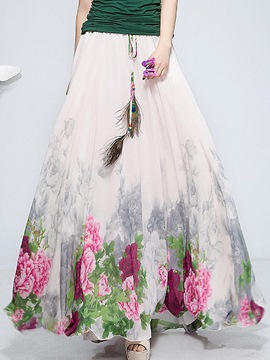 Ericdress Floral Print Expansion Maxi Skirt