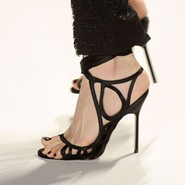Ericdress Sexy Black Cut Out Stiletto Sandals