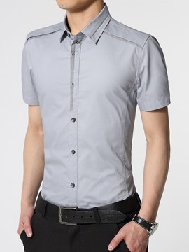Ericdress Plain Short Sleeve Slim Men's Shirt