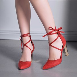 Ericdress Cross Strap Point Toe Chunky Sandals