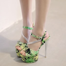 Ericdress Floral Print Stiletto Sandals
