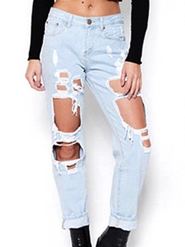 Ericdress Straight Hole Worn Jeans